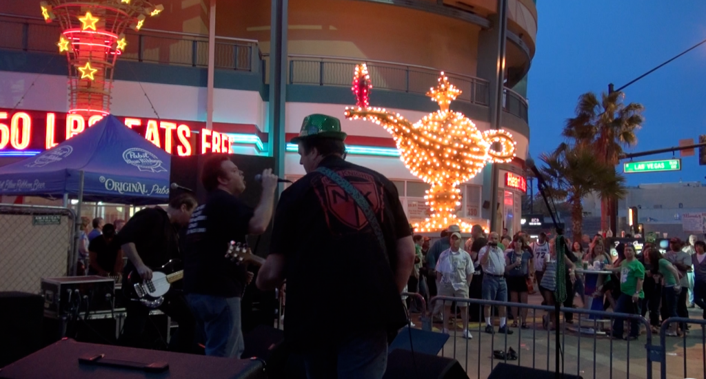 Neon Knights rocked out live to the St. Patrick's Day crowd at the top of Freemont Street East in downtown Las Vegas.  Photo: Monique Gaudin